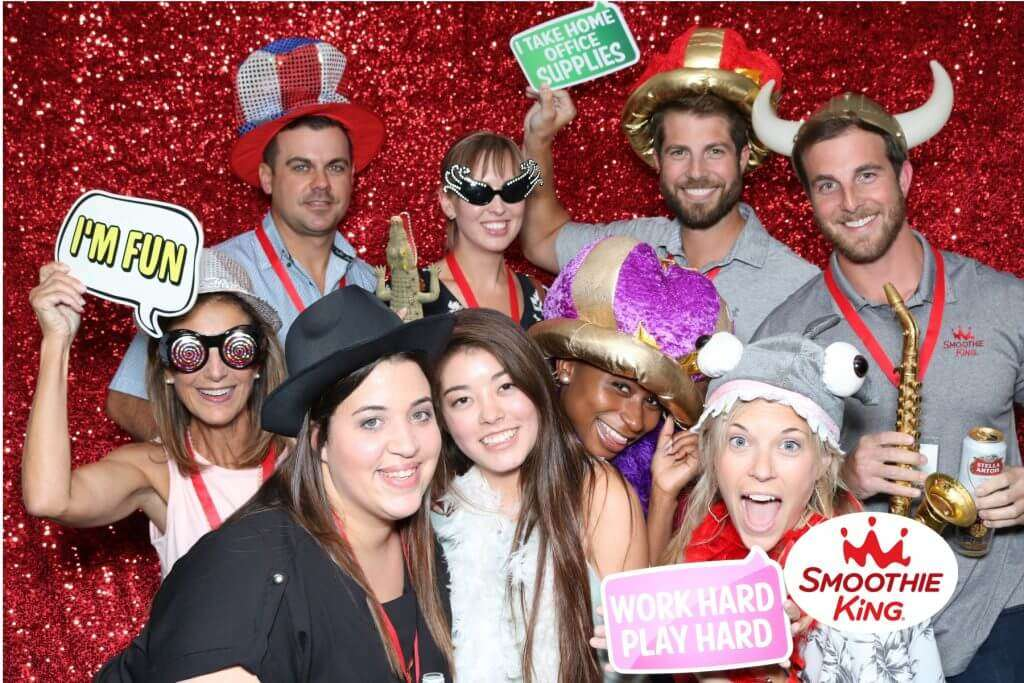 Officemates Enjoying Corporate Event Photo Booth